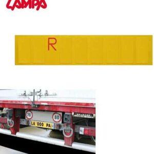 Targa ripetitrice per autocarro e camion allestita con numeri e lettere per semirimorchi e carrelli.