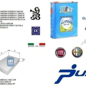 Kit filtri tagliando UFI Punto EVO 1.4 Natural Power 57 Kw + 4 Litri Olio Selenia Multipower 5W40